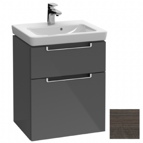 SAVE £49 - WAS £499 - &B Subway 2 Wall Mounted Vanity Unit In Oak Graphite - Model A907.00.FQ